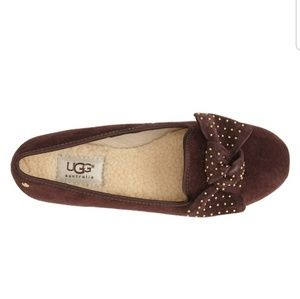UGG Alloway leather studded bow suede flats